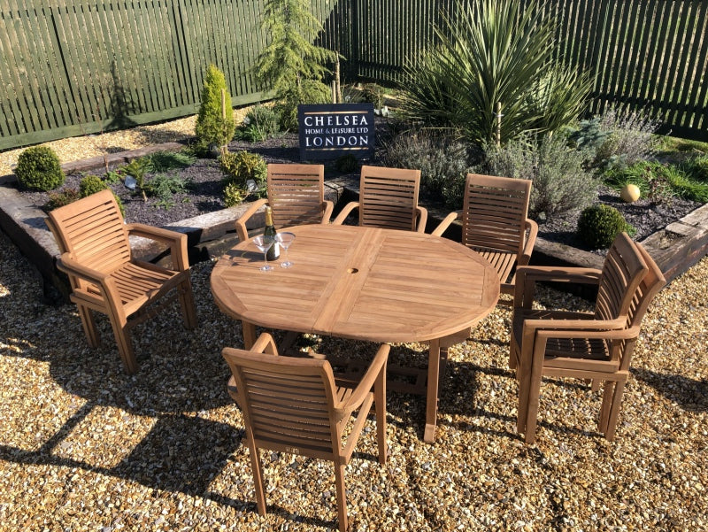 Luxury Extending Teak Table With 8 Stacking Teak Chairs