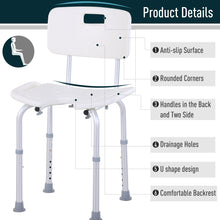 Load image into Gallery viewer, HOMCOM 8-Level Height Adjustable Bath Stool Spa Shower Chair Aluminum w/ Non-Slip Feet, Handle for the Pregnant, Old, Injured