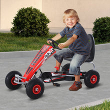 Load image into Gallery viewer, HOMCOM Pedal Go Kart Ride on Car Racing Style w/ Adjustable Seat Handbrake & Clutch in Red