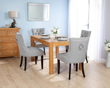 Load image into Gallery viewer, Rectangular Oak Dining Table and 4 Grey Linen Verona Dining Chairs with Chrome Knocker and Black Legs