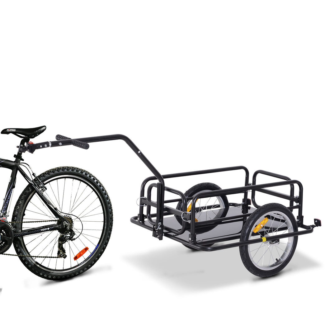 HOMCOM Bike Cargo Trailer Bicycle Cargo Storage Cart w/ Hitch Cycling Camping Luggage Storage Carrier Transport Steel Black