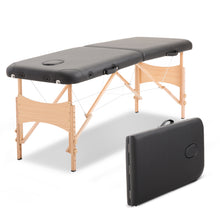 Load image into Gallery viewer, HOMCOM Portable Folding Massage Table, 2 Sections-Black