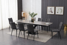 Load image into Gallery viewer, ceramic grey extending dining table inc 8 grey faux leather chairs