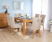 Load image into Gallery viewer, Rectangular Oak Dining Table and 6 Cream Linen Verona Dining Chairs with Chrome Knocker and Oak Legs
