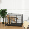 PawHut Heavy Duty Dog Crates Foldable Puppy Kennel and Cage Pet Playpen with Double Doors Removable Tray Lockable Wheels 125cm x 76cm x 81cm.