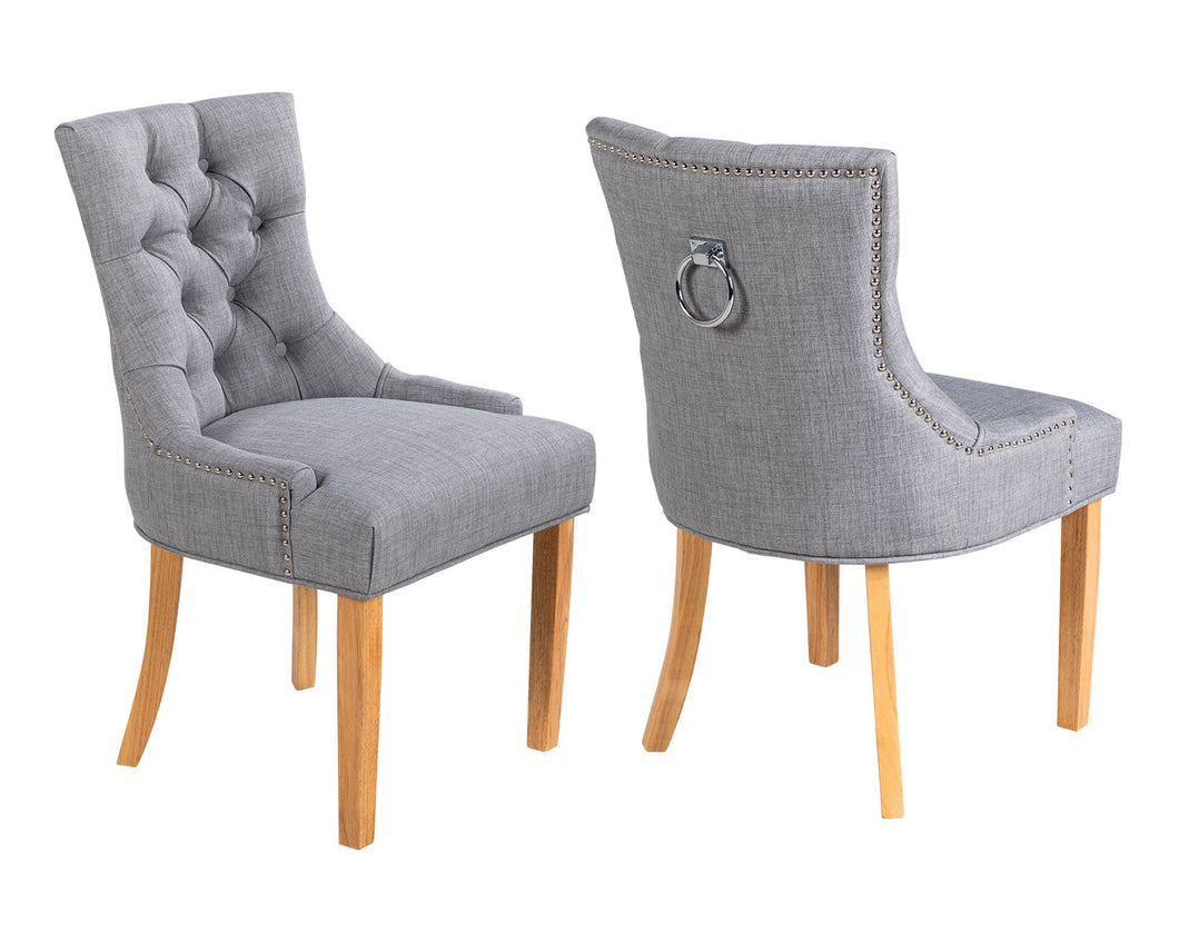 Pair of Verona Dining Chair in Grey Linen with Chrome Knocker and Oak Legs