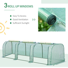 Load image into Gallery viewer, Outsunny PE Tunnel Greenhouse Green Grow House Steel Frame for Garden Backyard with Zipper Doors 3.5x1x1m Green