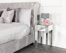 Load image into Gallery viewer, Monroe Silver Mirrored Console Table Set with 2 x 1 Drawer Bedside Tables, Stool and Tri-fold Mirror