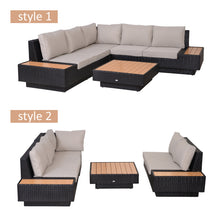 Load image into Gallery viewer, Outsunny 4Pcs Sectional Rattan Sofa Garden Furniture Set Coffee Table Chairs Loveseat Outdoor w/ Cushion Outdoor Patio