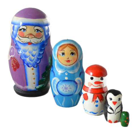 5 Piece Christmas Charcter Matryoshka Doll