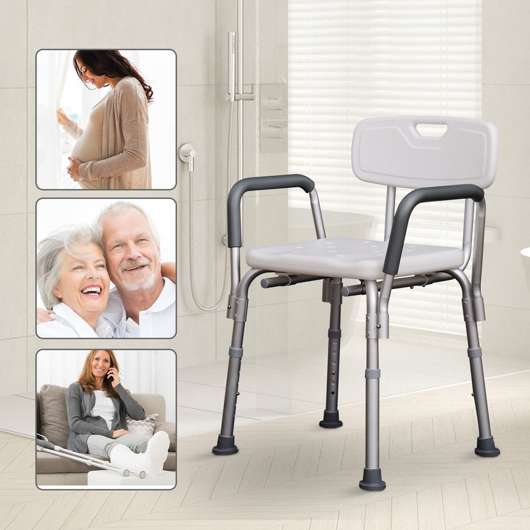 HOMCOM Adjustable Shower Bench with Back and Armrest