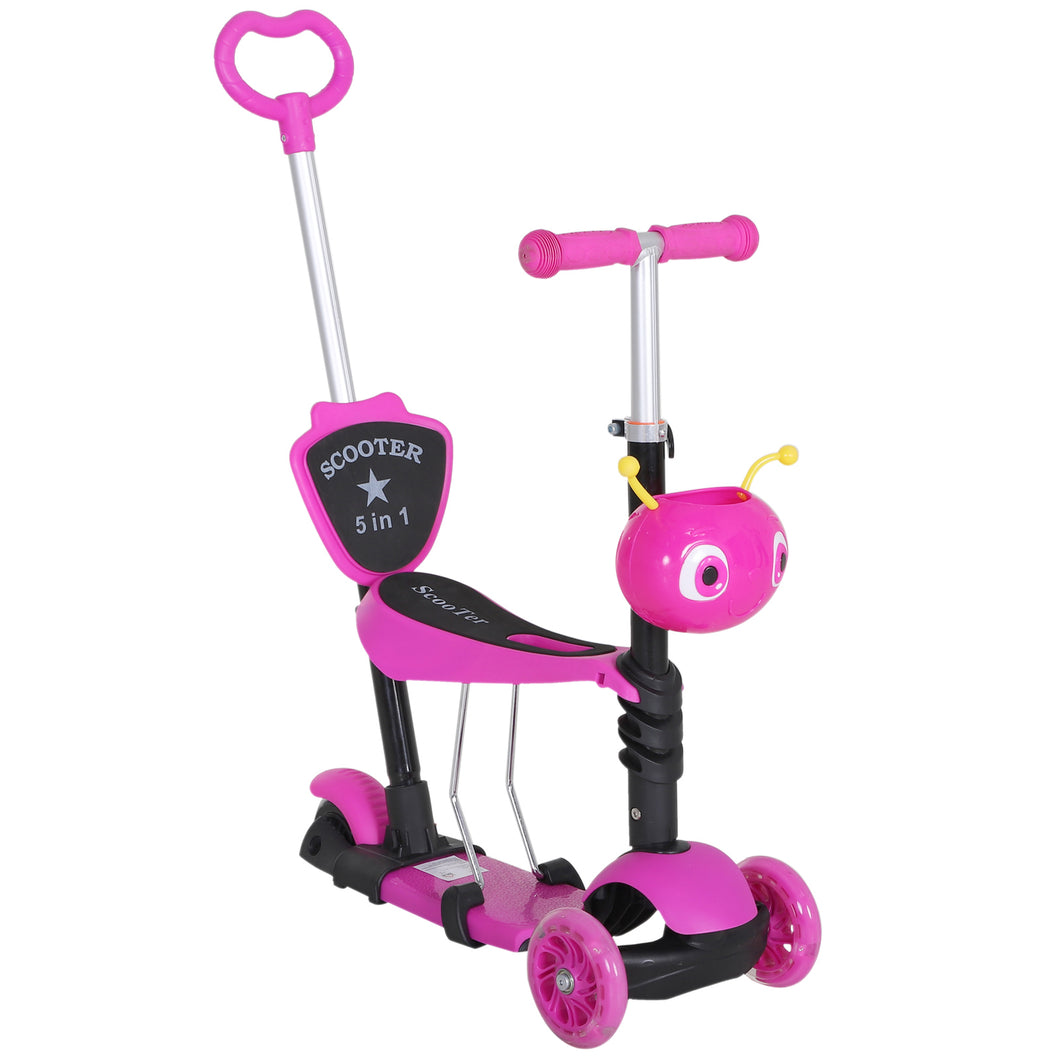 HOMCOM 5-in-1 Kids Kick Scooter W/Removable Seat-Pink