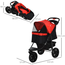 Load image into Gallery viewer, PawHut Oxford Cloth 3-Wheel Pet Stroller Red/Black