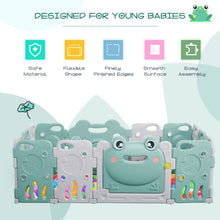 Load image into Gallery viewer, HOMCOM Baby Playpen 14 Panel Safety Gate Kids Activity Center Fence Frog Shape for Home Indoor Mom??s Helper w/ Toys HDPE