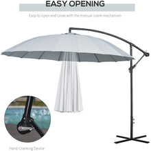 Load image into Gallery viewer, Outsunny 3(m) Cantilever Shanghai Parasol Garden Patio Hanging Banana Sun Umbrella Outdoor 18 Sturdy Ribs with Cross Base