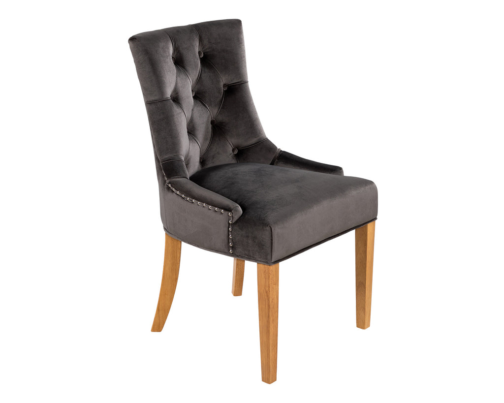 Verona Dining Chair in Grey Velvet with Chrome Knocker and Oak Legs