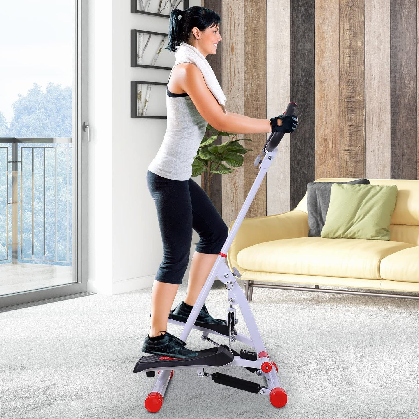 HOMCOM Home Stepper With Handle
