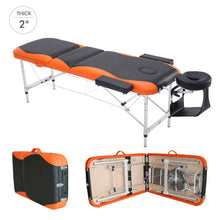 Load image into Gallery viewer, HOMCOM Professional Portable Massage Table W/ Headrest-Black/Orange