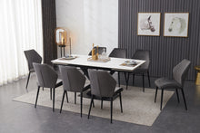 Load image into Gallery viewer, ceramic dining table white with 8 grey chairs