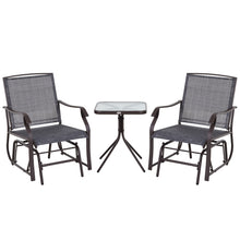 Load image into Gallery viewer, Outsunny Steel Frame Set-of-2 Glider Rocking Chair w/ Table Set Grey