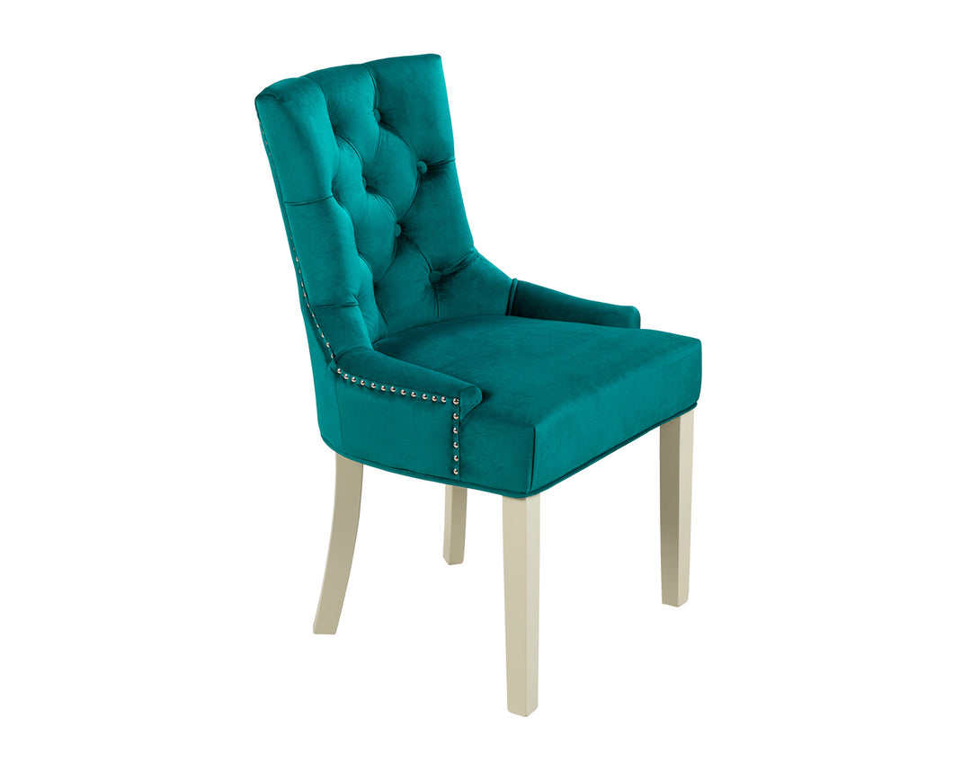 Verona Dining Chair in Teal Velvet with Chrome Knocker and Grey Legs