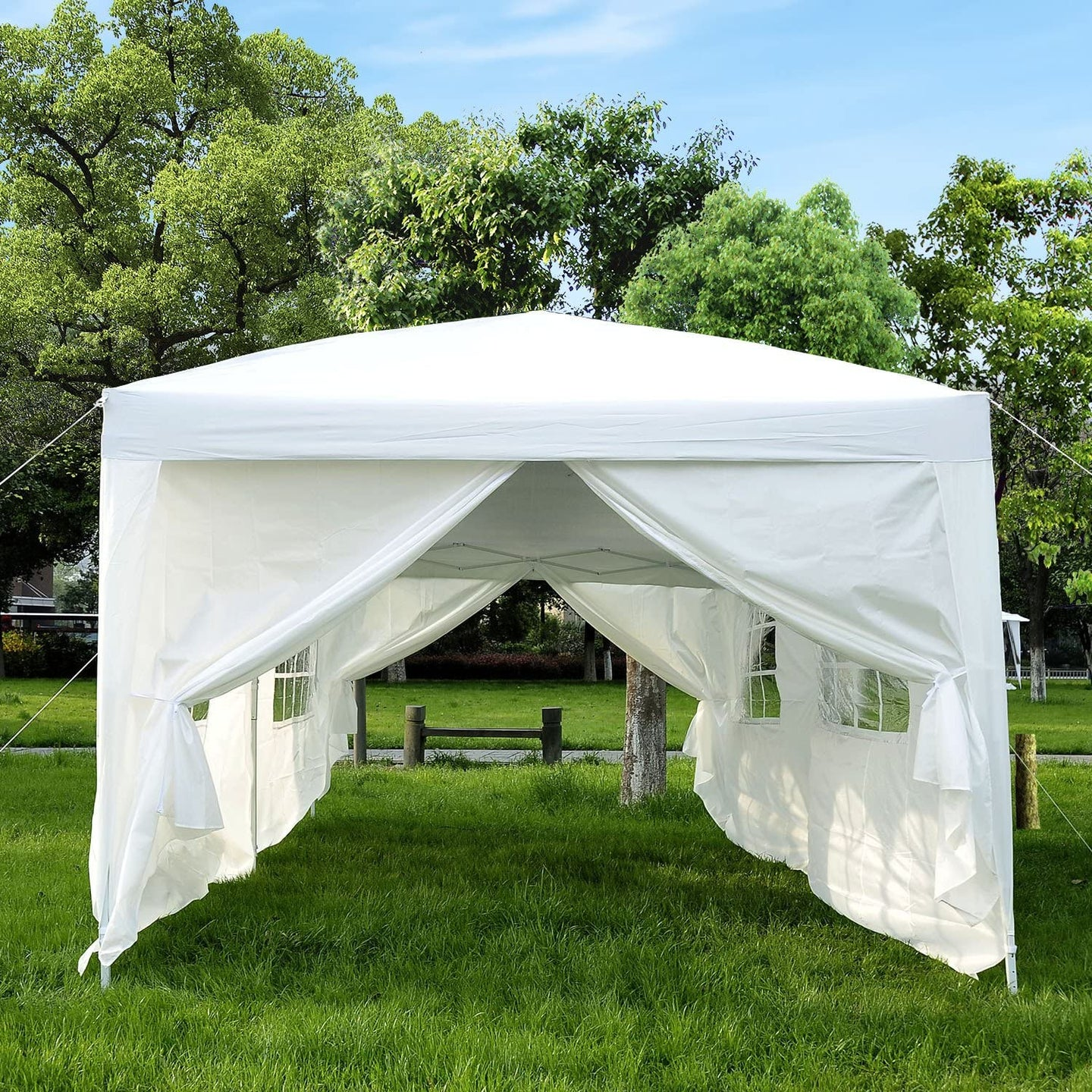 Outsunny Pop Up Gazebo Marquee, size(6m x 3m)-White