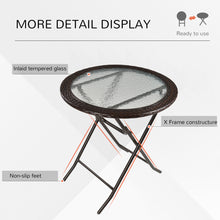 Load image into Gallery viewer, Outsunny Folding Round Tempered Glass Metal Table with Brown Rattan Edging