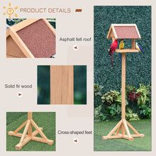 Load image into Gallery viewer, PawHut Wooden Bird Feeder Table Freestanding with Weather Resistant Roof Cross-shaped Support Feet for Outdoor Garden Backyard Pre-cut Natural
