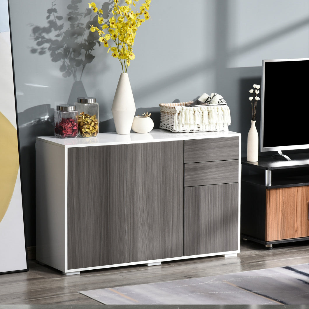 HOMCOM Modern Stylish Freestanding Push-Open Design Cabinet with Drawers, Door, Part Inner Space, for Living Room, Bedroom, Bathroom, Kitchen