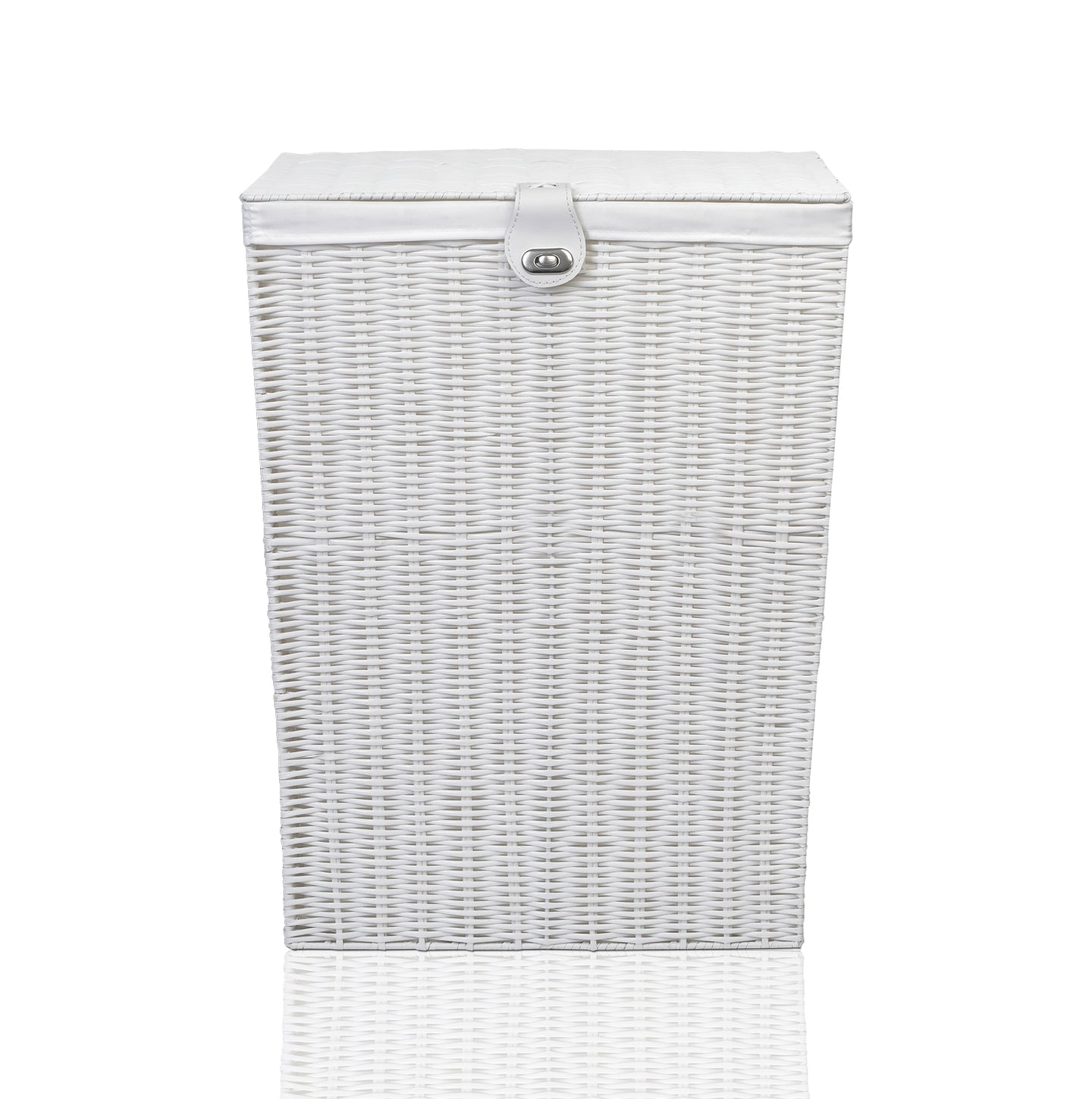 Arpan Resin Large Laundry Clothes Basket with Lid, Lock and Lining Storage Basket with Removable Lining 85 liters - White