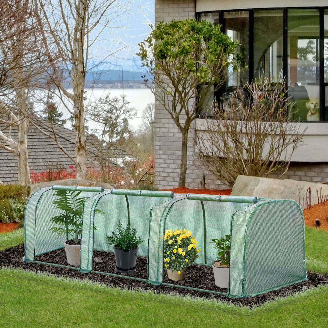 Outsunny PE Tunnel Greenhouse Green Grow House Steel Frame for Garden Backyard with Zipper Doors 3.5x1x1m Green
