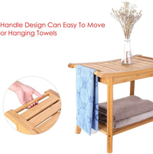 Load image into Gallery viewer, HOMCOM 45cm 2-Tier Slatted Bamboo Shower Bench Storage Seat w/ 4 Legs Comfortable Safe Bathroom Stool Spa Bath Organiser