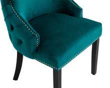 Load image into Gallery viewer, Elizabeth Dining Chair in Teal Velvet with Round Knocker and Black Legs