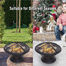 Load image into Gallery viewer, Outsunny Dia. 76cm Round Metal Outdoor Firepit Log Wood Burning Heater Garden Fire Bowl Brazier with Mesh Screen, Log Grate, Screen Lifting Tool, Antique Finish