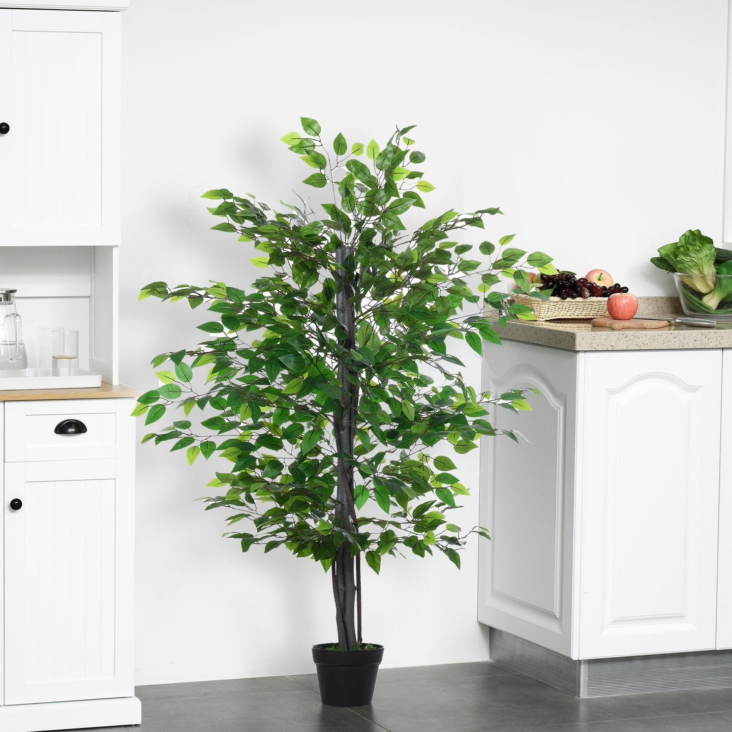 Outsunny Artificial Banyan Decorative Plant with Nursery Pot, Fake Tree for Indoor Outdoor Décor, Green, 1.45m