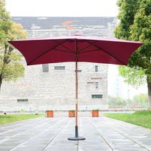 Load image into Gallery viewer, Outsunny 3m x 2m Wood Wooden Garden Parasol Sun Shade Patio Outdoor Umbrella Canopy New (Wine Red)