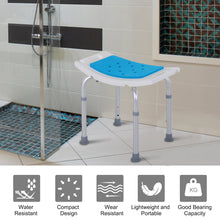 Load image into Gallery viewer, HOMCOM Aluminium Alloy 6-Level Non-Slip Bathroom Stool w/ Drainage Blue