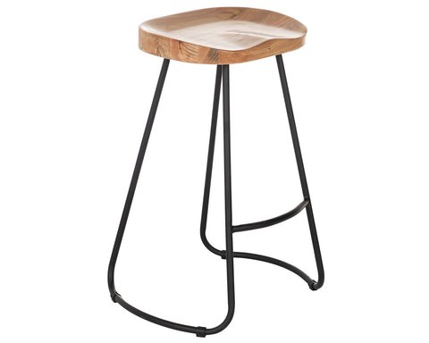 Counter Stool in Black Matte with Natural Seat