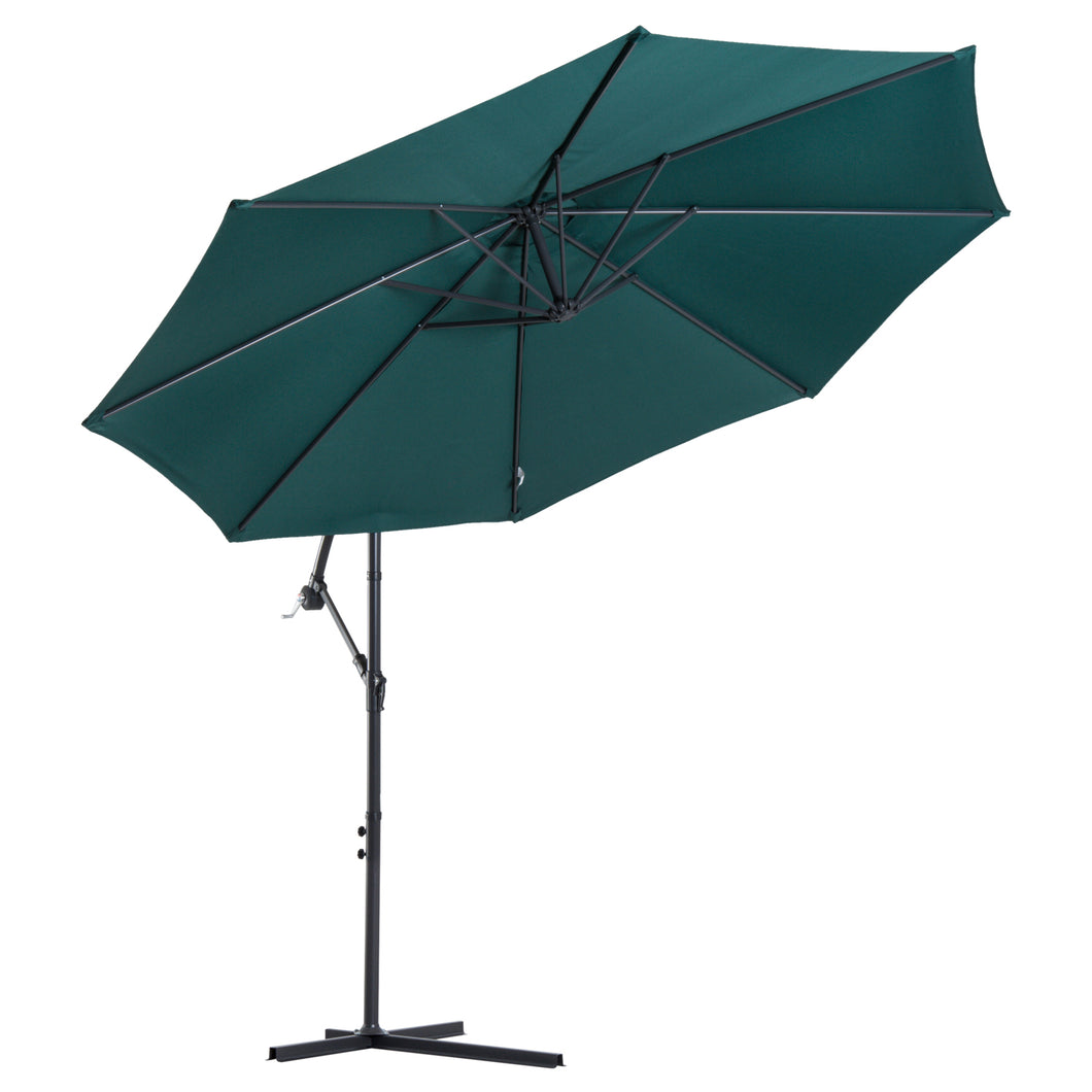 Outsunny 3M Banana Umbrella Parasol-Dark Green