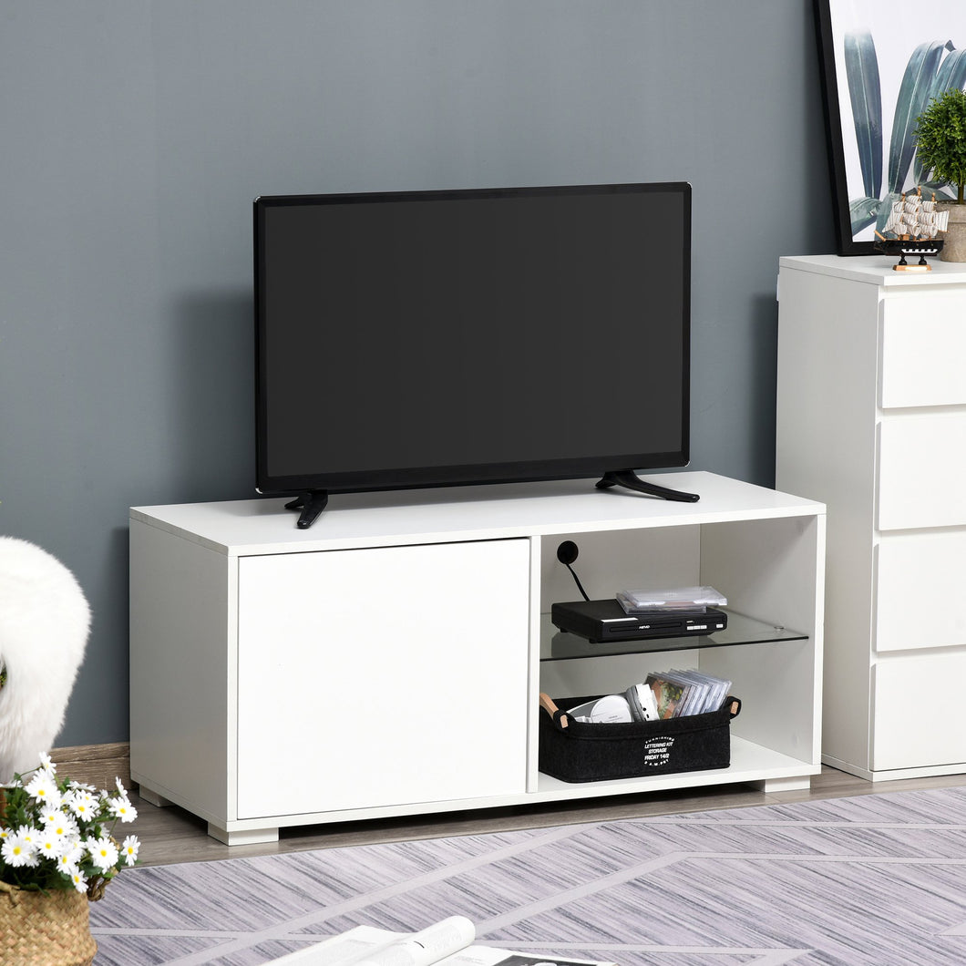 HOMCOM Modern TV Stand Media Unit w/ High Gloss Door Cabinet 2 Shelves Living Room Office Home Furniture White