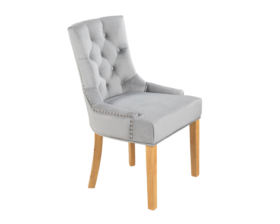 Verona Dining Chair in Light Grey Velvet with Chrome Knocker and Oak Legs