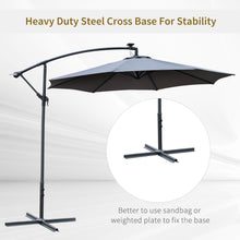 Load image into Gallery viewer, Outsunny 2.95m LED Patio Banana Umbrella Cantilever Parasol w/ Crank Cross Base Hanging Offset Umbrella Frame Steel Aluminium Garden Table Grey