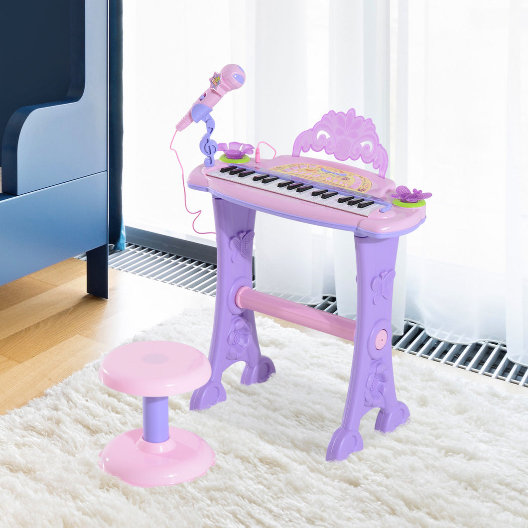 HOMCOM Mini Electronic Organ Piano W/Microphone and Stool-Purple/Pink