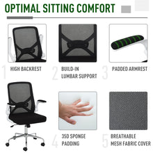Load image into Gallery viewer, Vinsetto Folding Back Office Chair Compact w/Lifting Arms Mesh Cushion Mesh Seat Adjustable Height 5 Wheels Swivel