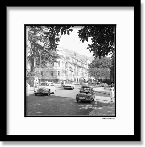 Main Street Monaco - Framed B&W photograph