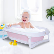 Load image into Gallery viewer, HOMCOM Folding Baby Bath Tub Safety Shower w/ Anti-Slip Comfortable Portable Washer Pink