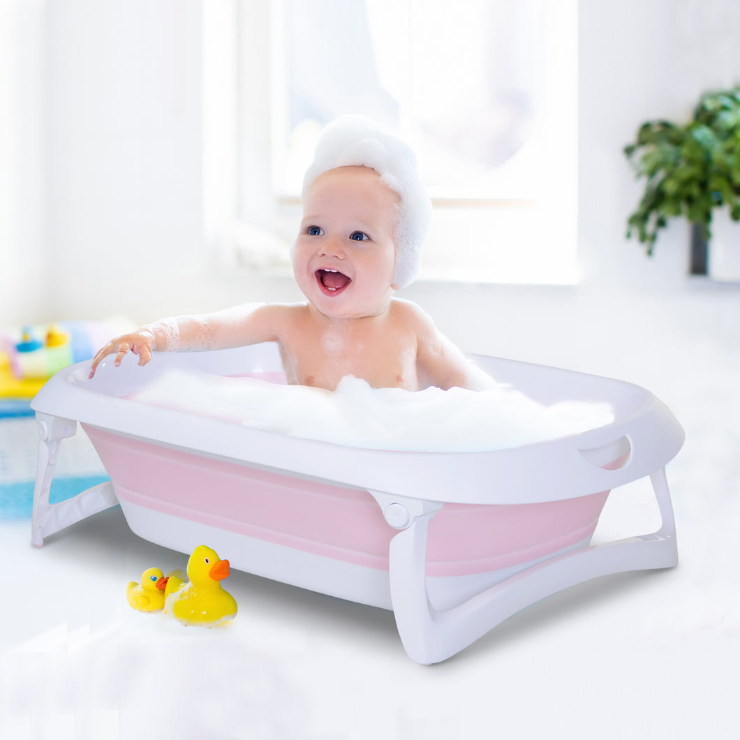 HOMCOM Folding Baby Bath Tub Safety Shower w/ Anti-Slip Comfortable Portable Washer Pink