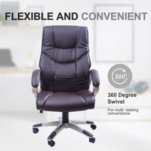 Load image into Gallery viewer, HOMCOM PU Office Chair Swivel Executive Seat Ergonomic High Back Chair w/ Adjustable Height (Brown)