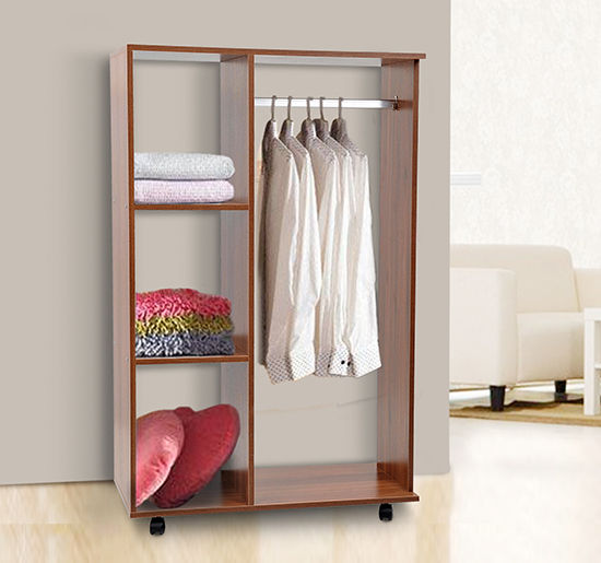 HOMCOM Open Wardrobe W/ Clothes Hanging Rail-Walnut