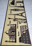 World theme beautiful beige rug / runner - Anti-slip with latex backing